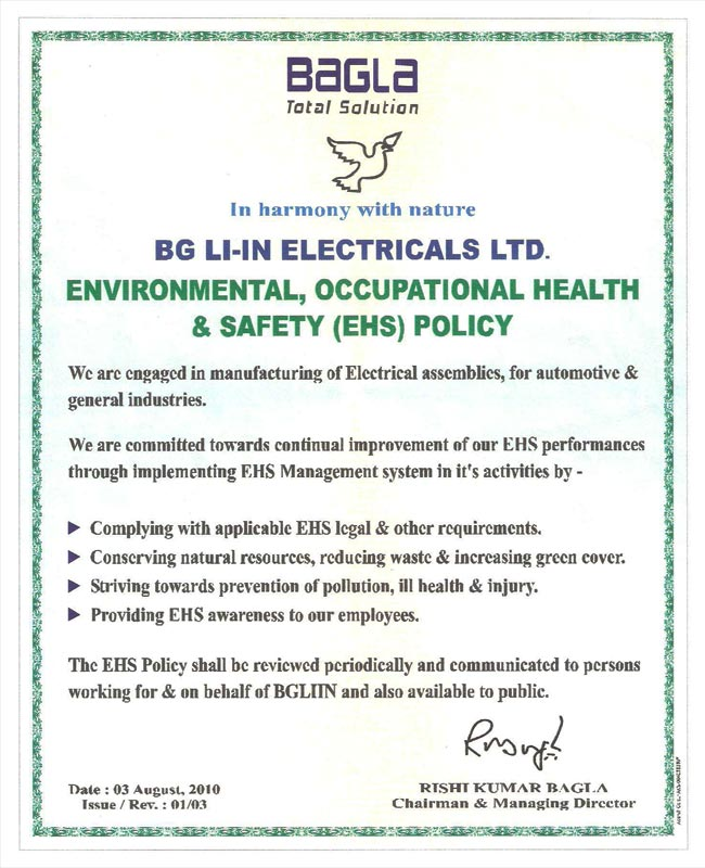 Bg Liin Electricals Certification